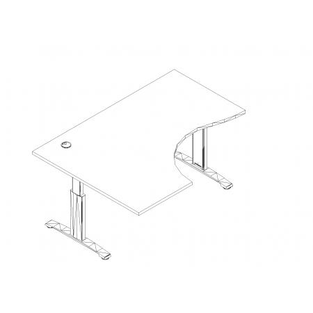 Meble :: Biurka :: Ergonomic Master biurko kształtowe z manualną regulacją wysokości 160 cm - BR10R