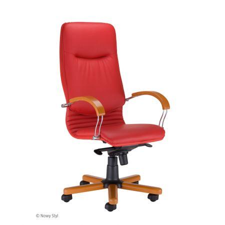 Meble :: Krzesła i Fotele Biurowe :: NOVA wood chrome - mechanizm Multiblock - skóra